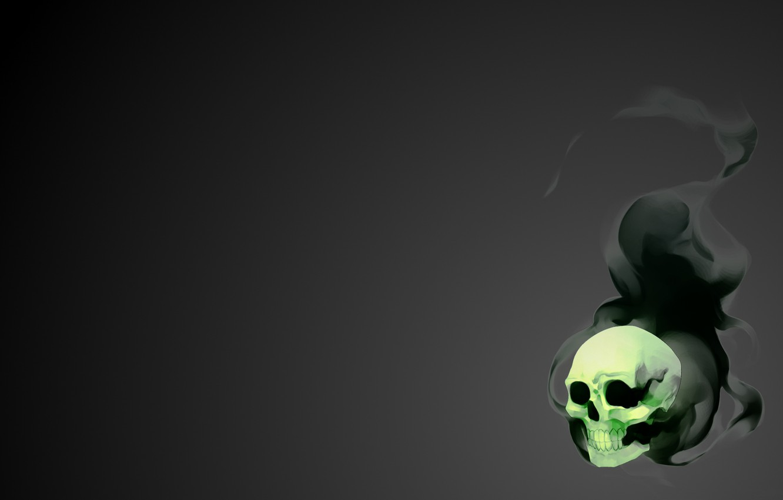 Photo wallpaper Black, Skull, Smoke, Green, Light, Art, Glow, Black, Sake, Fiction, Smoke, Dirk, Gray, Minimalism, Soft, …