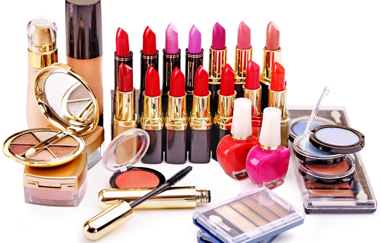 Photo wallpaper mascara, shadows, cosmetics, blush, white background, lipstick, concealer, lucky