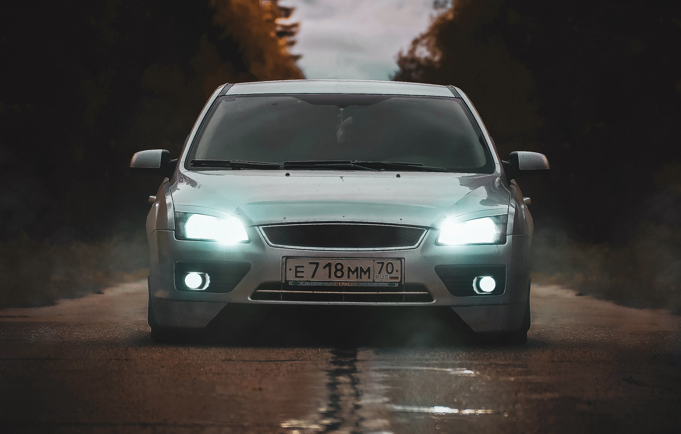 Photo Wallpaper Road Forest Xenon Lights Tuning Sedan Ford Focus