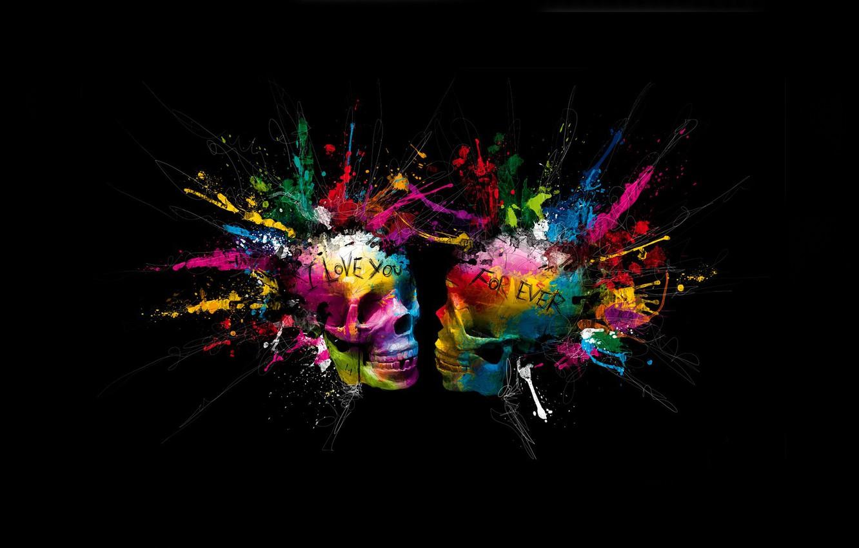 Photo wallpaper bright colors, squirt, skull, eternal love, love forever