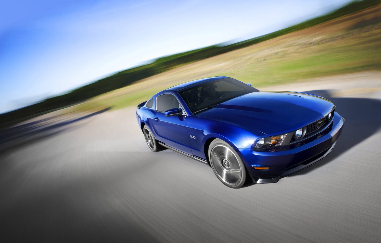 Photo wallpaper Road, mustang, blur, ford, muscle car