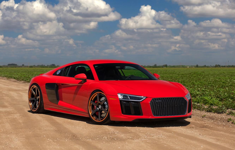 Photo wallpaper Audi, Red, V10, HRE, 2017, RS106, R8
