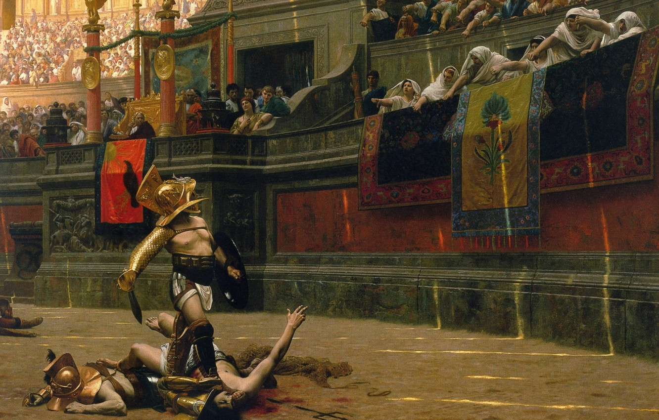 Photo wallpaper sand, blood, the crowd, picture, warrior, helmet, battle, fighter, arena, Colosseum, Empire, fight, the fight, …