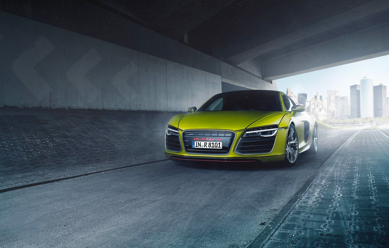 Photo wallpaper Audi, Quattro, Yellow, V10, Supercar, More, Front, Film factory, Bodensee