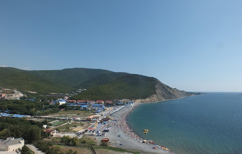 Photo wallpaper sea, beach, the sky, trees, mountains, Anapa, Sukko