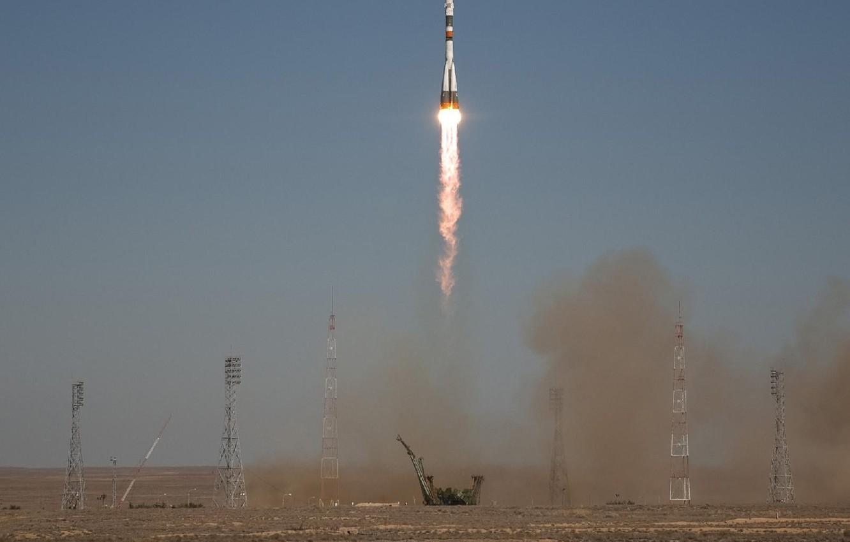 Photo wallpaper rocket, start, Soyuz TMA-16
