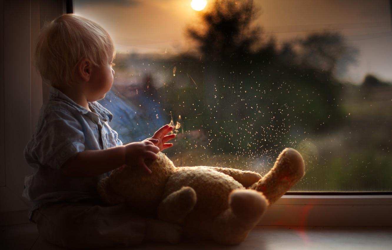 Photo wallpaper drops, reflection, toy, child, boy, baby, bear, window, bear
