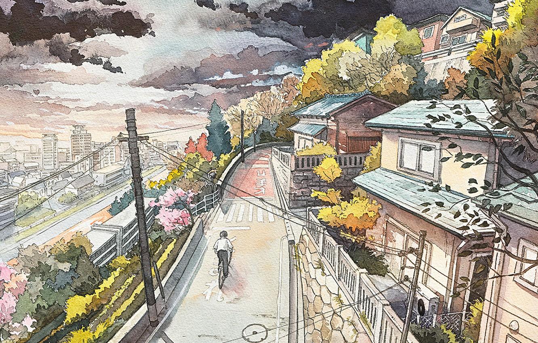 Wallpaper Road Bike The City Japan Watercolor Images For Desktop Section Zhivopis Download
