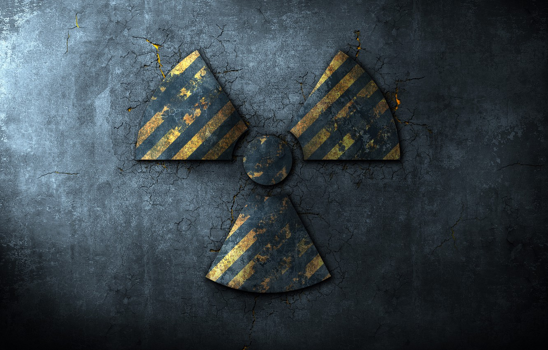 Photo wallpaper asphalt, cracked, sign, radiation, Radioactive sign