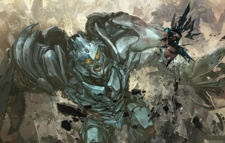 Photo wallpaper Black Rock Shooter, anime, art, crossover, Megatron, Transformers, Decepticon