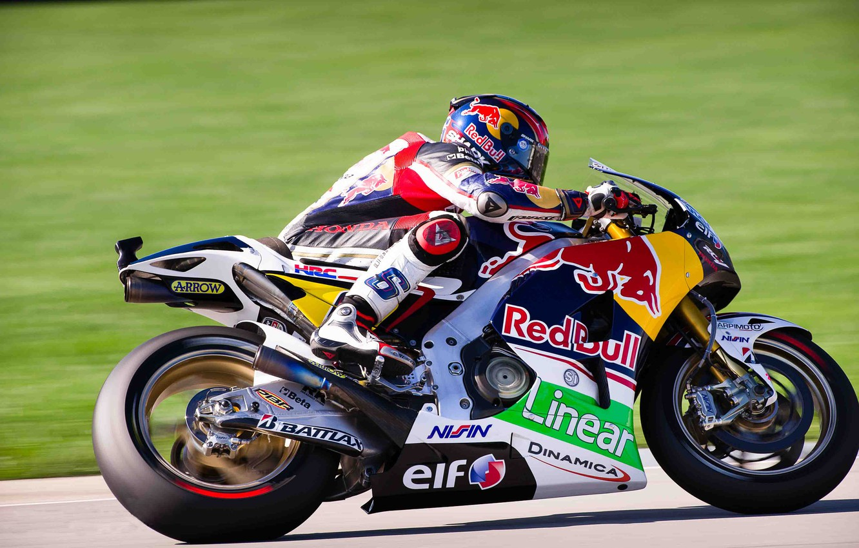 Photo wallpaper Sport, Speed, Race, Motorcycle, Moto, Honda, MotoGP, Red Bull