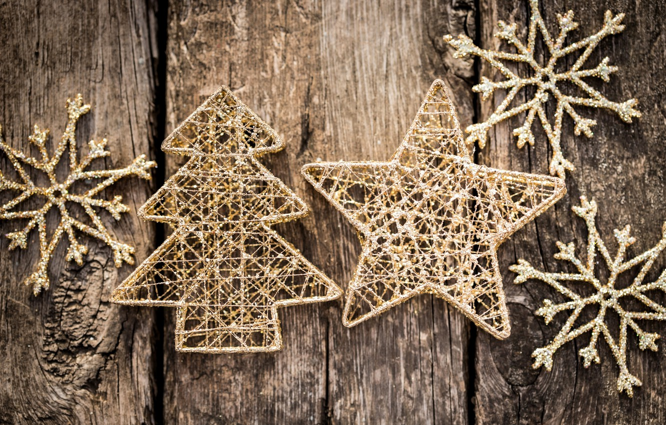 Photo wallpaper winter, snowflakes, background, tree, toys, star, tree, New Year, Christmas, the scenery, herringbone, Christmas, gold, …