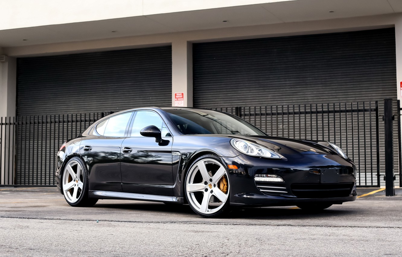 Photo wallpaper Porsche, Dark, Panamera, Blue