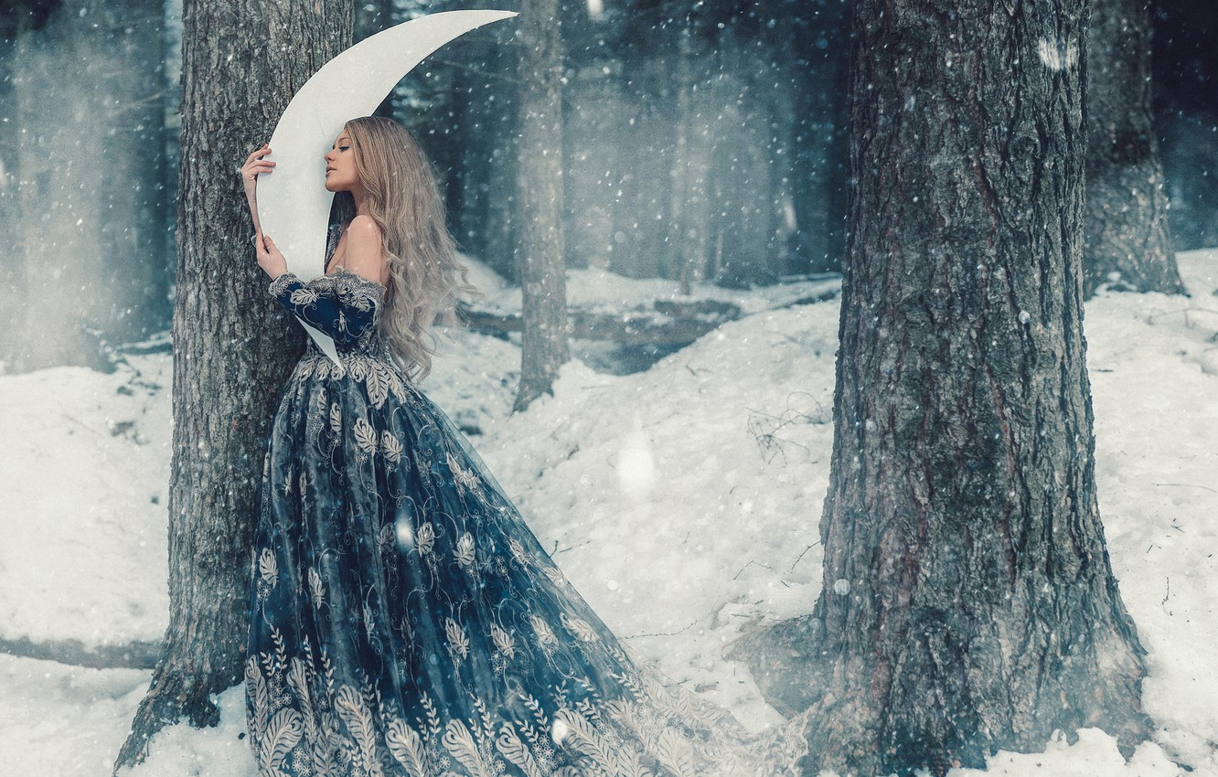 Photo wallpaper winter, forest, girl, snow, trees, hair, cute, a month, dress, fairy, snowfall, fabulously, Wallpaper from …