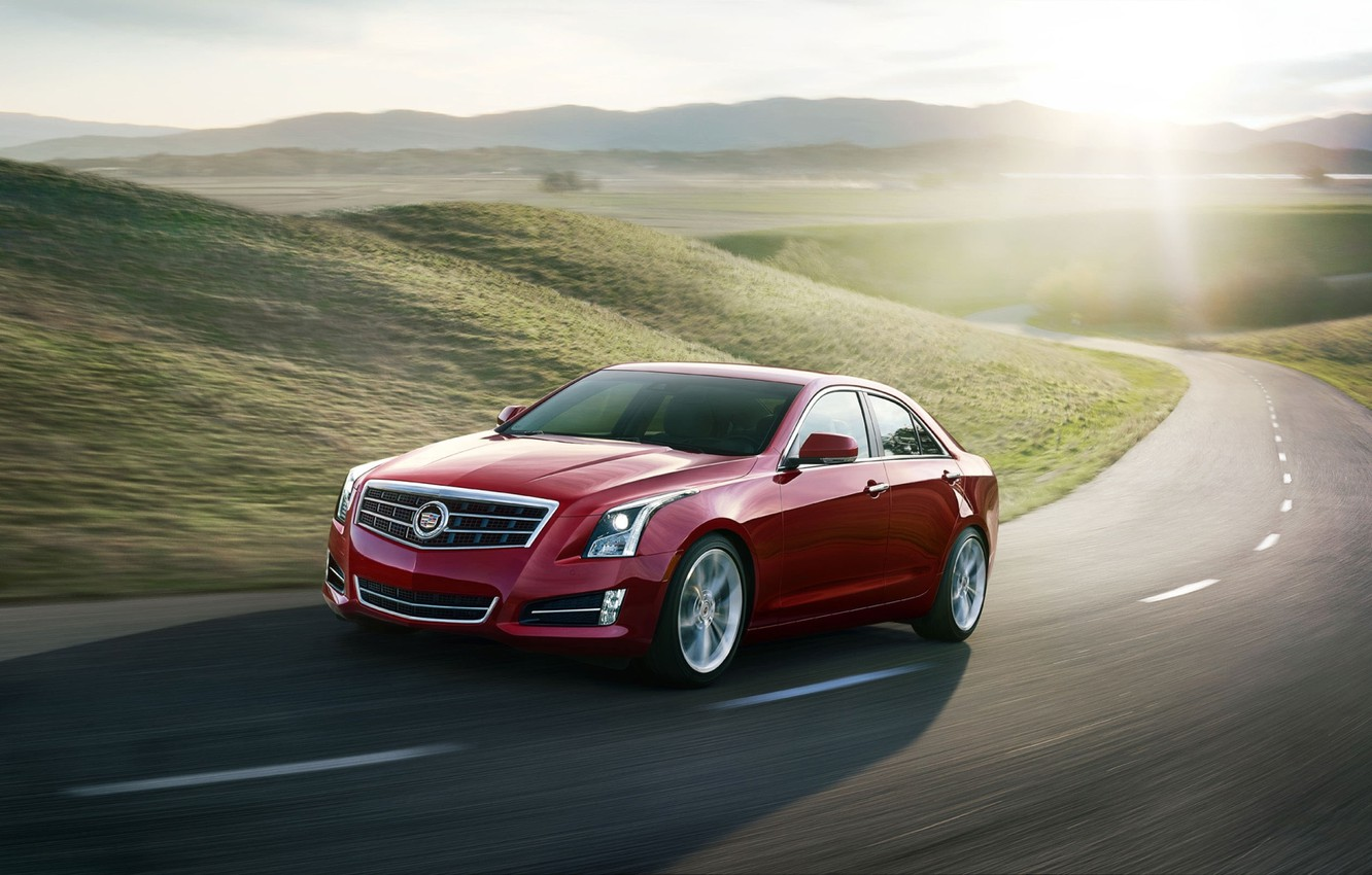 Photo wallpaper road, the sun, red, background, hills, Cadillac, sedan, the front, ATS, Cadillac