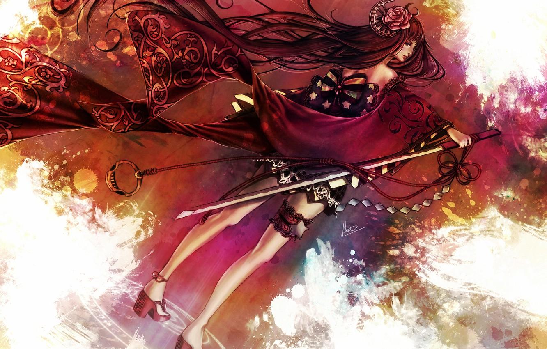 Photo wallpaper flower, girl, rose, sword, katana, kimono, bow, garter, print, shuriken, Rose of Death
