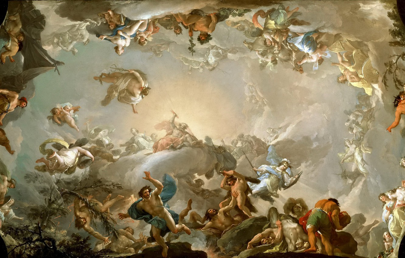 Photo wallpaper picture, the gods, the titans, mythology, Francisco Bayeux and Subias, Olympians, The battle with the …