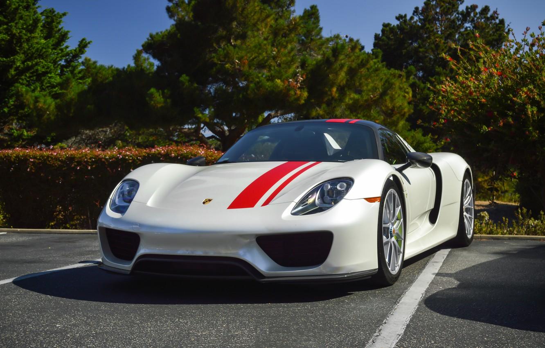Photo wallpaper Porsche, 918, White, Weissach