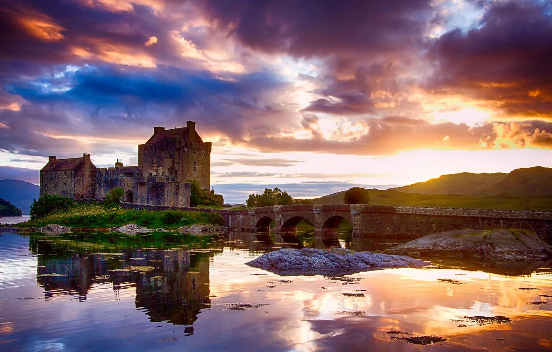 Photo wallpaper the sky, water, clouds, light, reflection, Scotland, Castle, the sun, Eilean Donan