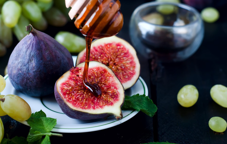 Photo wallpaper leaves, berries, Board, plate, grapes, fruit, honey, mint, figs