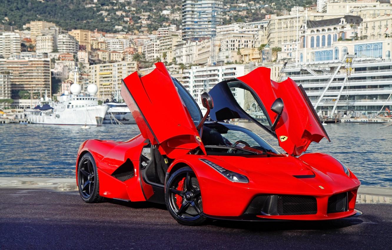 Photo wallpaper red, red, ferrari, Ferrari, front view, guillotine, doors, the laferrari, laferrari