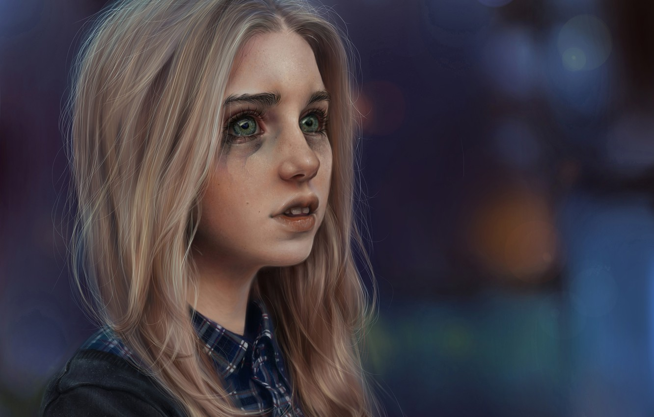 Photo wallpaper girl, mood, tears, art, blonde, crying, cry