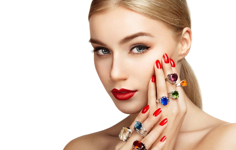 Photo wallpaper look, girl, face, background, ring, hands, makeup, lipstick