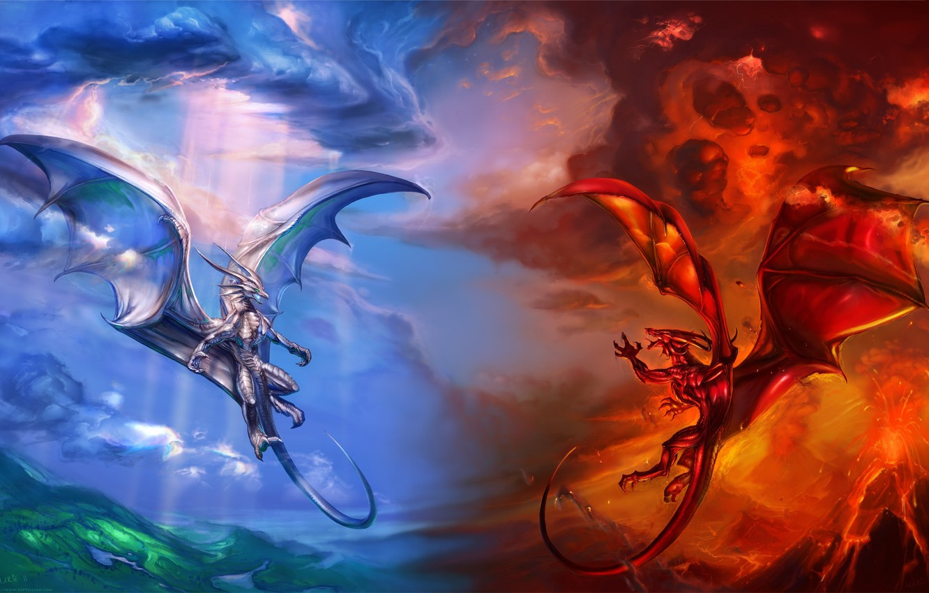 Photo wallpaper clouds, blue, red, clouds, fire, dragons, the volcano, the air, lava