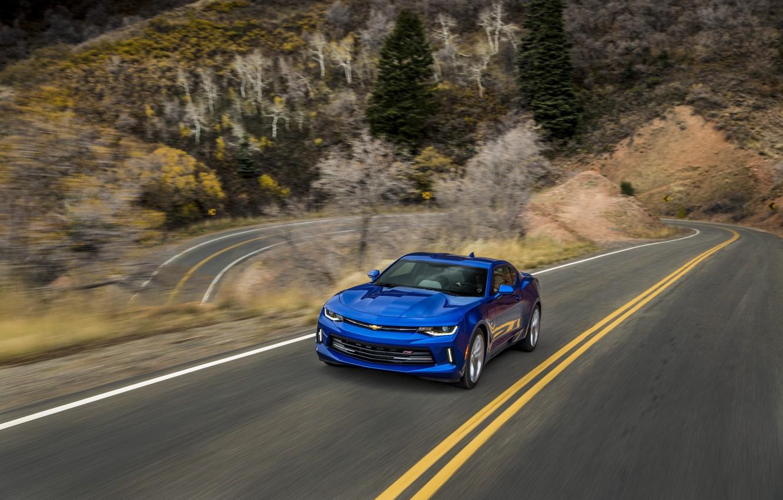 Photo wallpaper blue, speed, turn, Chevrolet, camaro, chevrolet, Camaro