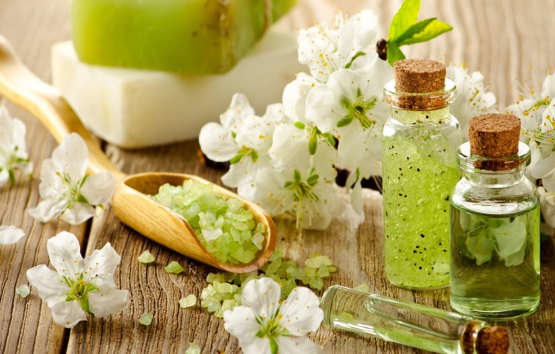 Photo wallpaper flowers, oil, soap, wood, flowers, Spa, spa, salt, oil, zen, bath salt