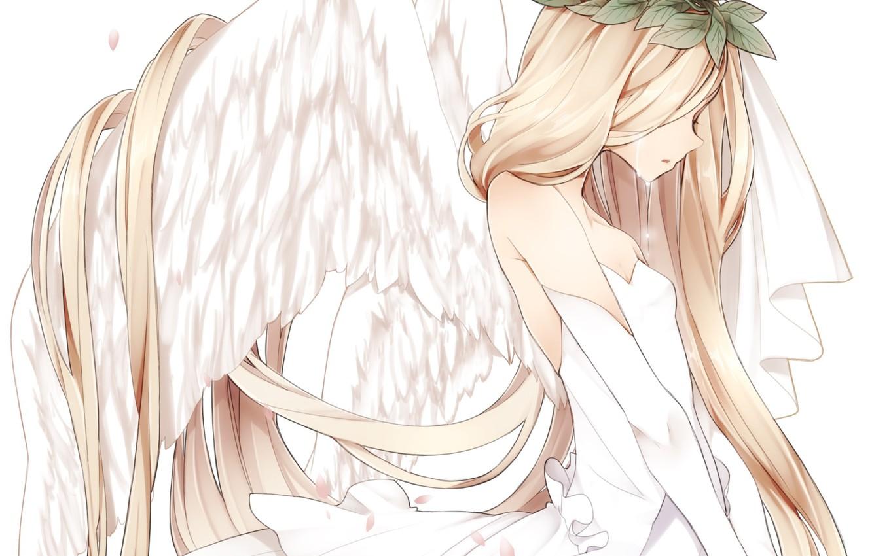 Photo wallpaper leaves, girl, wings, angel, anime, petals, Sakura, tears, art, wreath, naruto maki