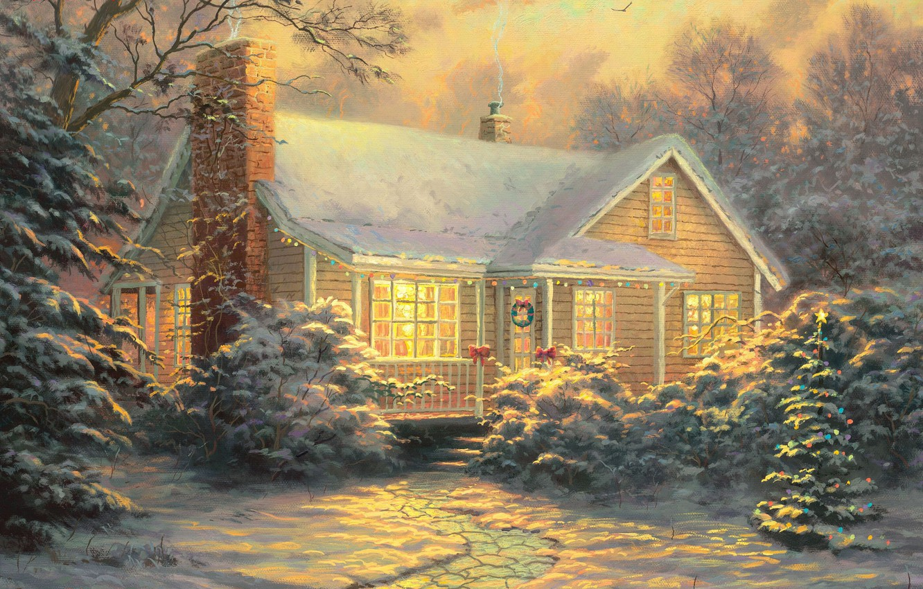 Photo wallpaper winter, snow, decoration, lights, new year, picture, the evening, tree, twilight, painting, cottage, Thomas Kinkade, …