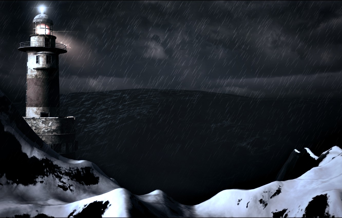 Photo wallpaper storm, rain, the ocean, wave, storm, Lighthouse