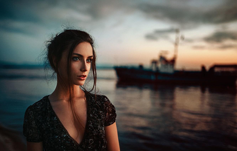 Photo wallpaper Sunset, Nature, Girl, Look, Model, Beautiful, Vasilina Khabarovsk