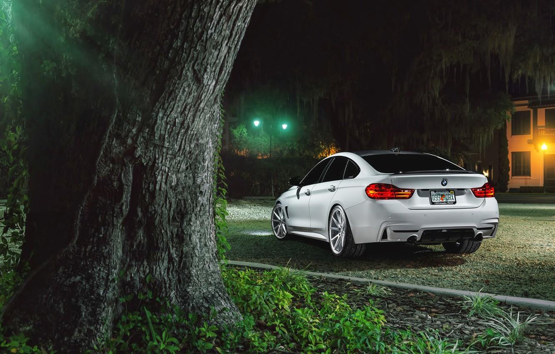 Photo wallpaper BMW, Car, Grass, Green, White, Series, Sport, Vossen, Wheels, Rear, VFS1