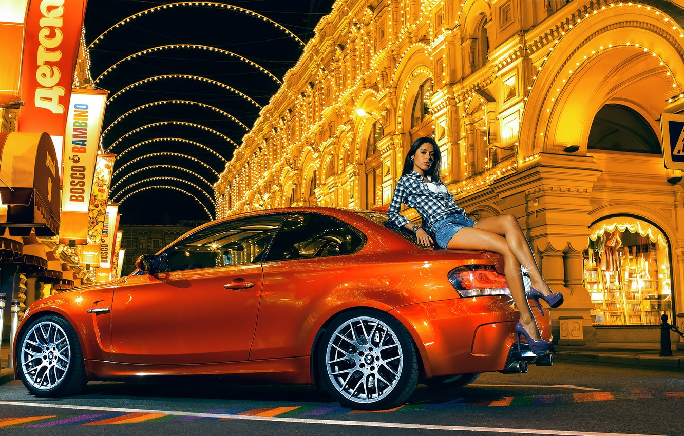 Photo wallpaper street, orange, BMW, brunette, nfs, most wanted, smotra, 1M Coupe
