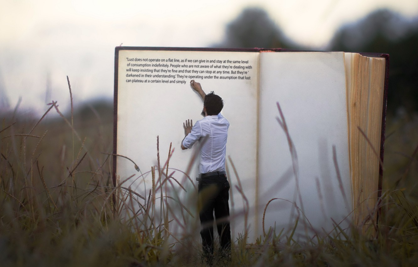 Photo wallpaper grass, people, book