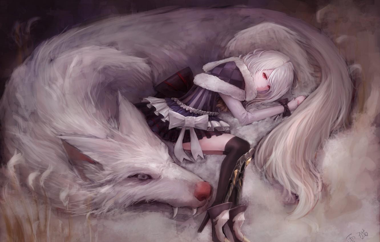 Photo wallpaper girl, wolf, art