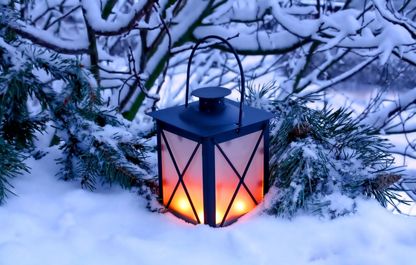 Photo wallpaper winter, snow, nature, candles, lantern, light, nature, winter, snow, candles