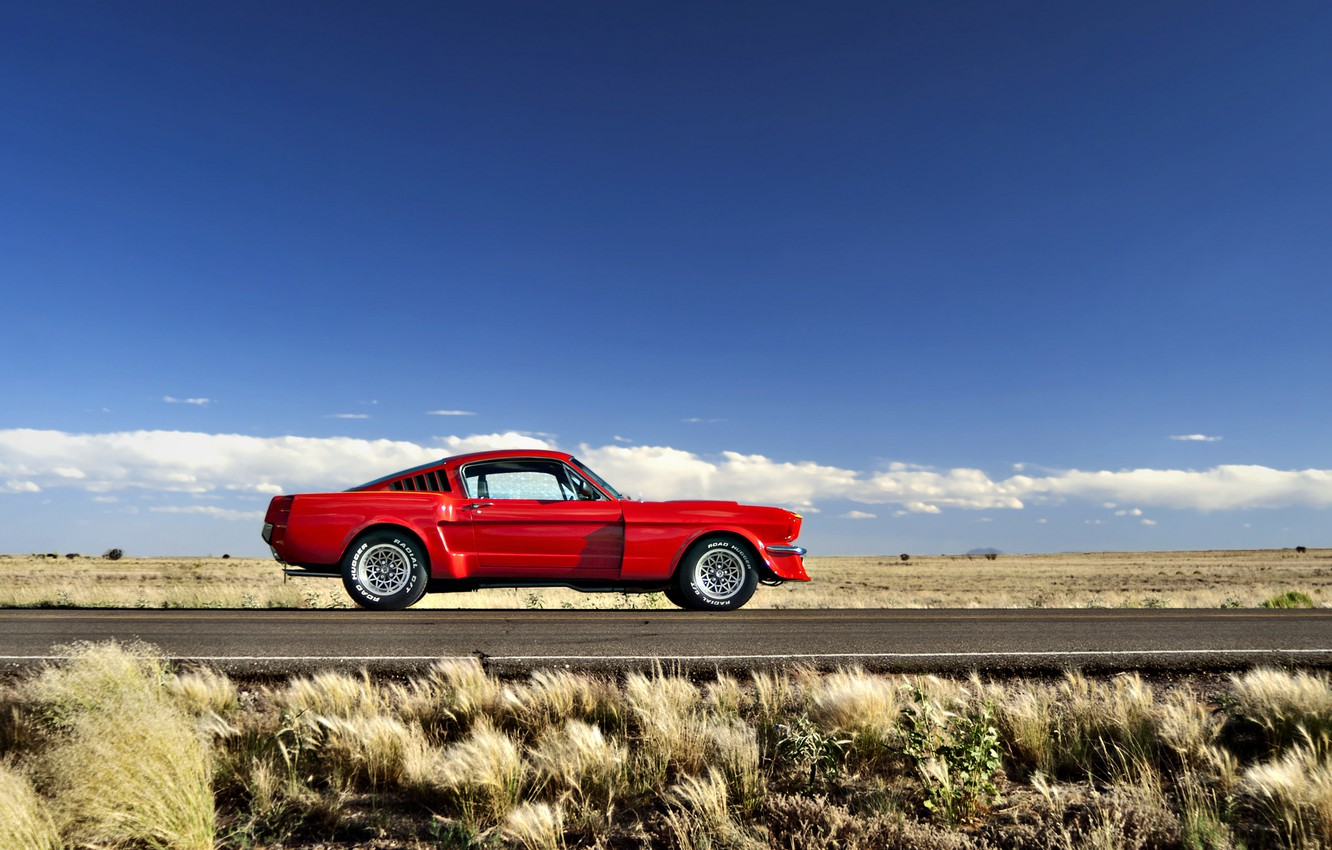 Photo wallpaper road, field, the sky, grass, clouds, hills, Mustang, Ford, horizon, wheel, 1965, solar, side