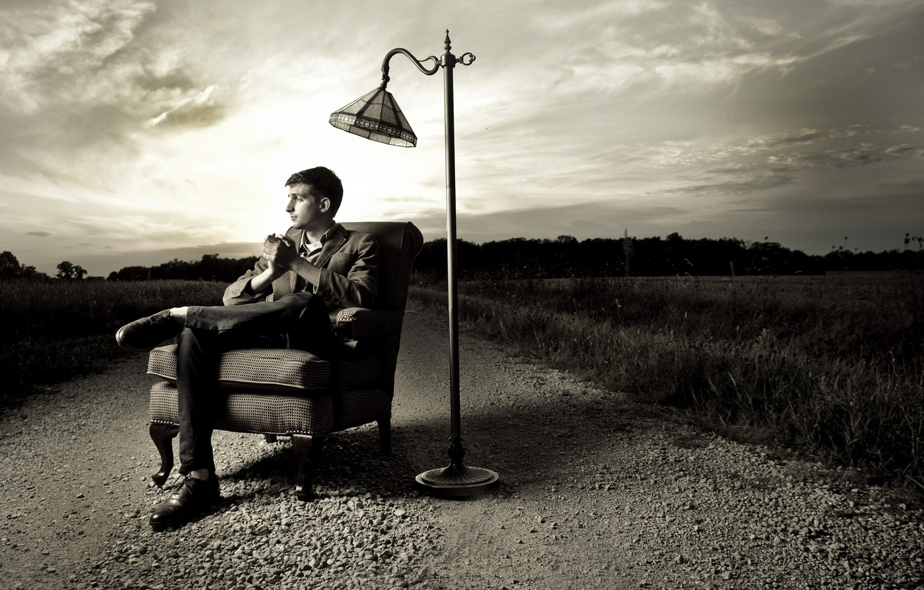 Photo wallpaper road, the situation, lamp, guy