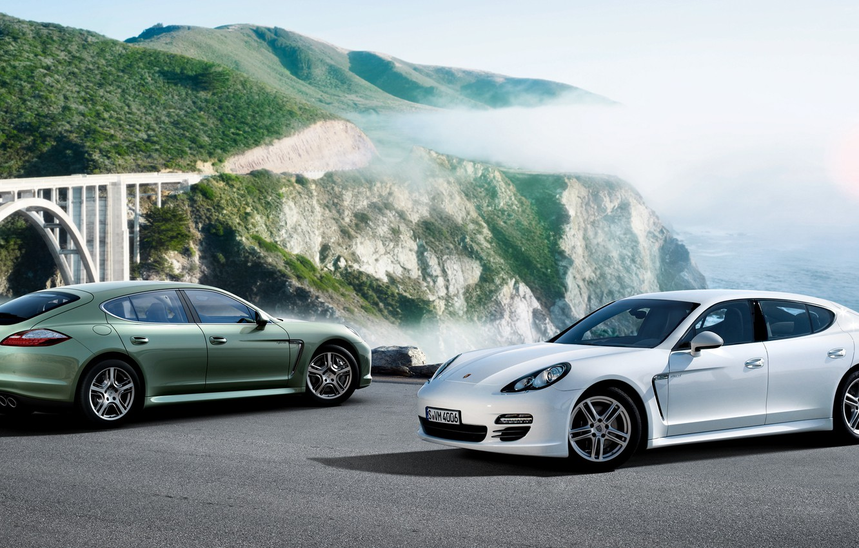 Photo wallpaper white, Porsche, Panamera, green