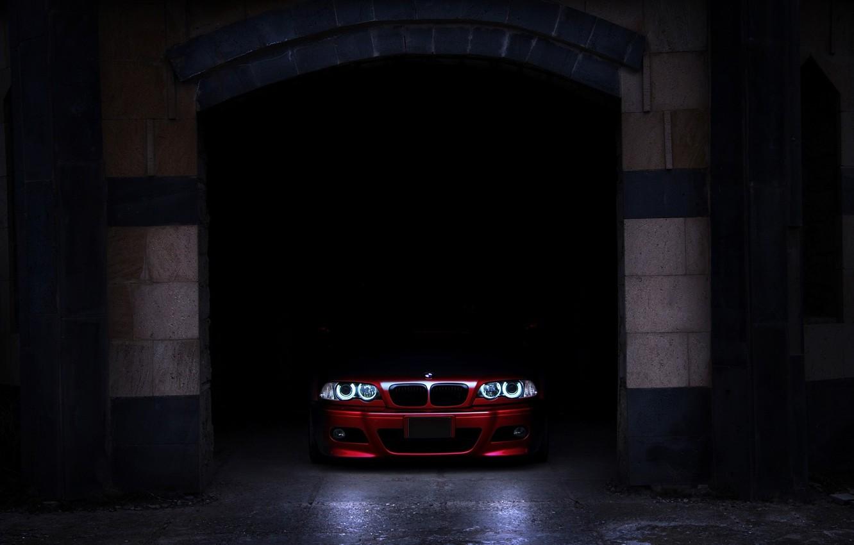 Photo wallpaper shadow, garage, BMW, before, red