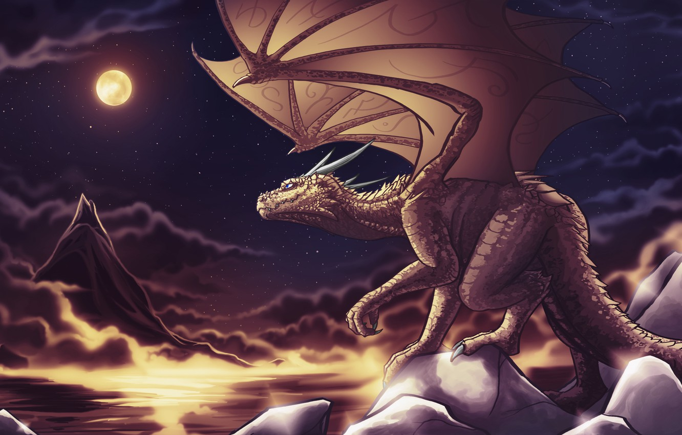 Photo wallpaper the sky, stars, night, clouds, fiction, rocks, the moon, dragon, wings, tail, horns