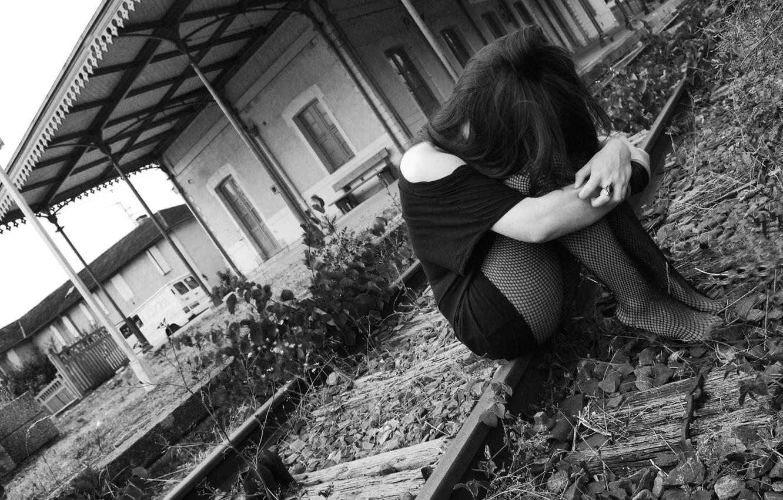Photo wallpaper sadness, grey sky, train station, black&white, black clothes, black tights, sad girl