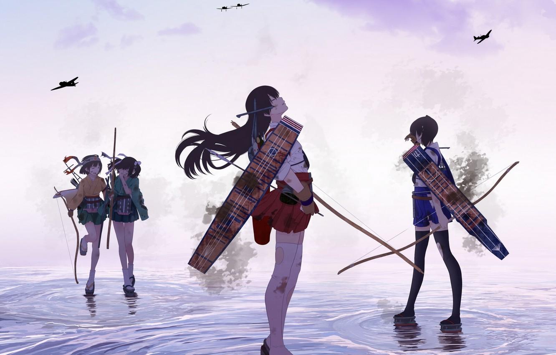 Photo wallpaper water, weapons, girls, anime, bow, art, aircraft, arrows, kantai collection, kaga, hiryuu, akagi, souryuu, tsukumo