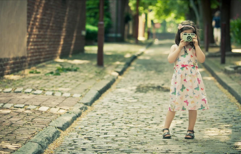 Photo wallpaper road, summer, girl, joy, happiness, freshness, children, girls, mood, street, girls, dress, the camera, girl, …