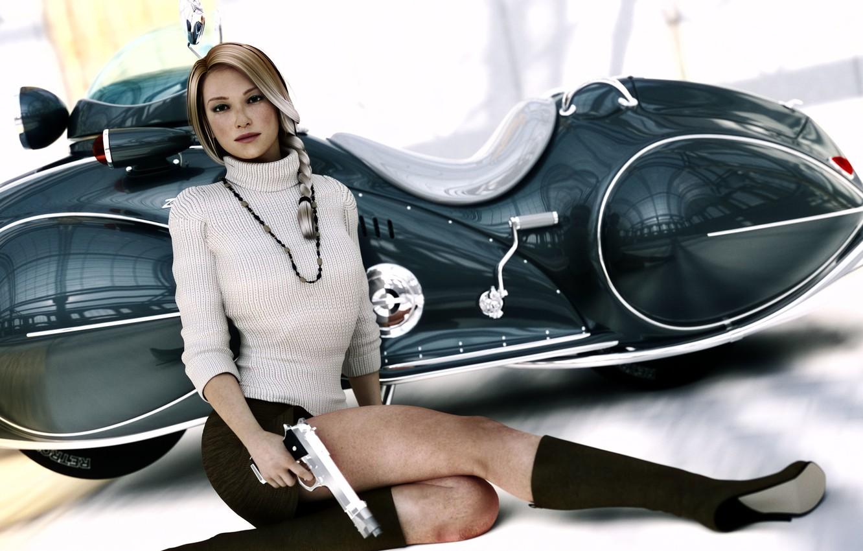 Photo wallpaper girl, gun, feet, skirt, moped, blonde, scooter