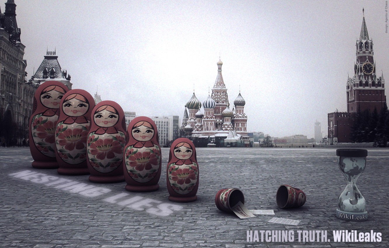 Photo wallpaper Moscow, the Kremlin, dolls, WikiLeaks, red square, freedom of speech