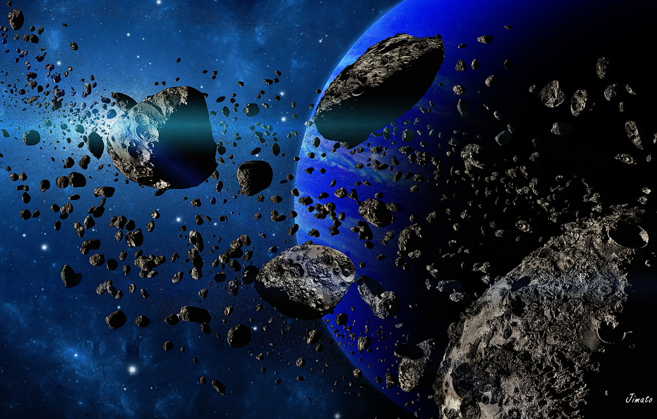 Photo wallpaper space, planet, stars, asteroids